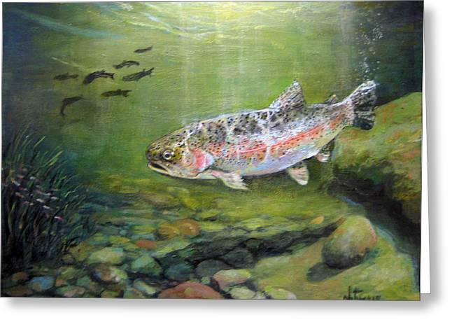 Rainbow Trout Greeting Cards - Catch It Greeting Card by Donna Tucker