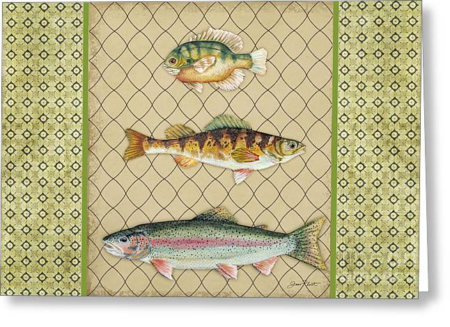 Trout Fishing Greeting Cards - Catch of the Day-G Greeting Card by Jean Plout