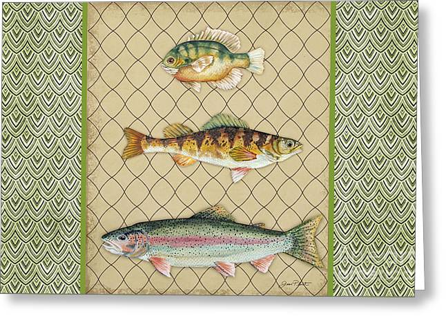 Trout Fishing Greeting Cards - Catch of the Day-H Greeting Card by Jean Plout