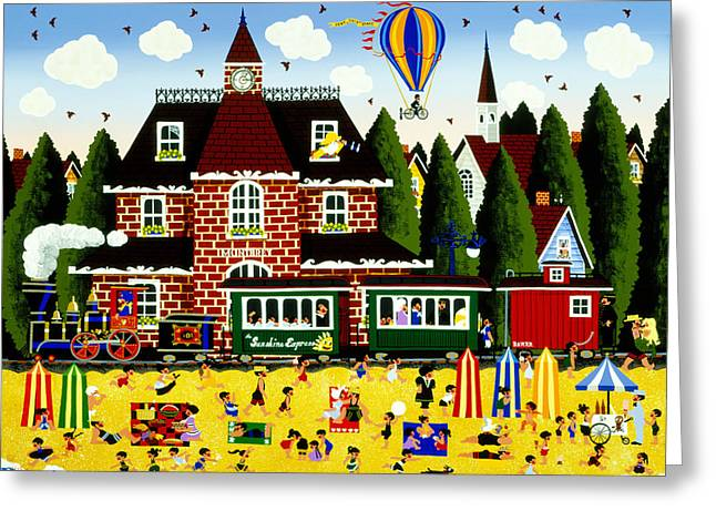 Train Depot Greeting Cards - Catch of the Day Greeting Card by Merry  Kohn Buvia