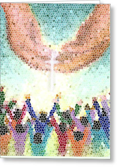 Stained Glass Pastels Greeting Cards - Catch the Vision 3 Greeting Card by Tanysha Bennett-Wilson