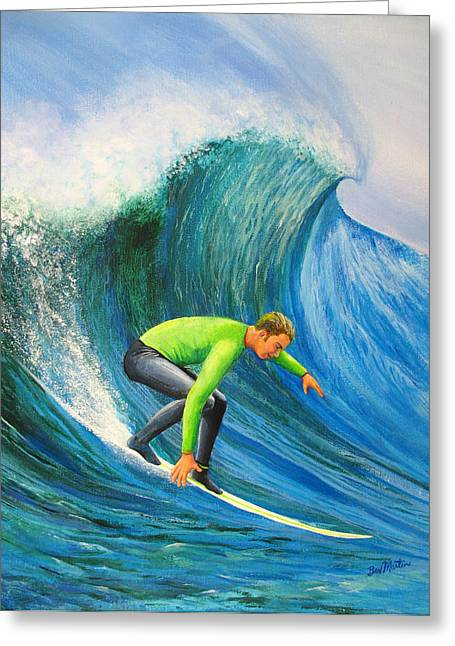 Santa Cruz Surfing Greeting Cards - Catch The Wave Greeting Card by Bev Martin