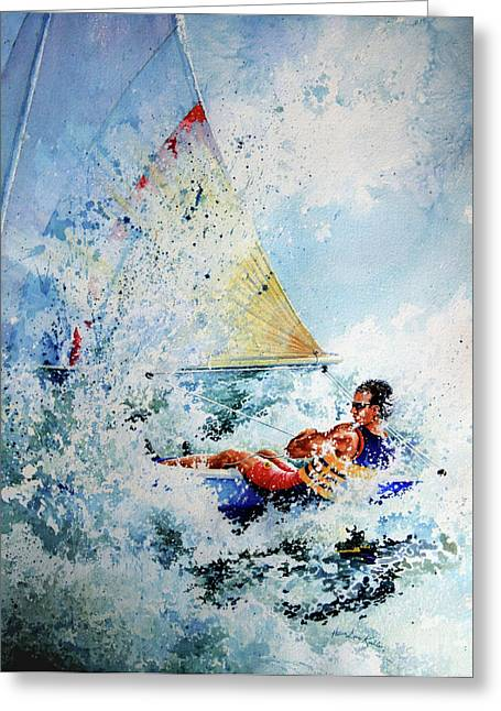 Surfing Art Greeting Cards - Catch The Wind Greeting Card by Hanne Lore Koehler