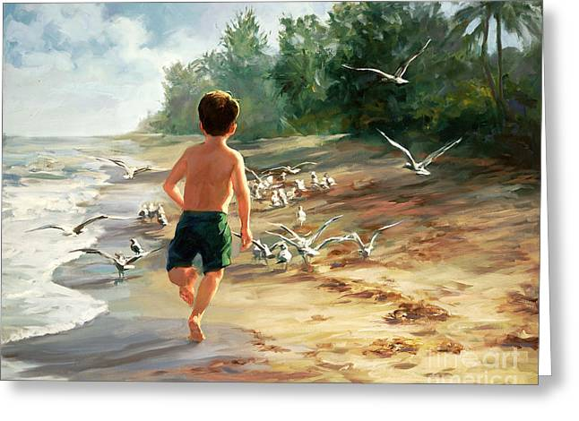 Beach Boy Greeting Cards - Catch Them If You Can Greeting Card by Laurie Hein