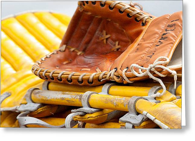 Baseball Memorabilia Greeting Cards - Catcher Greeting Card by Art Block Collections