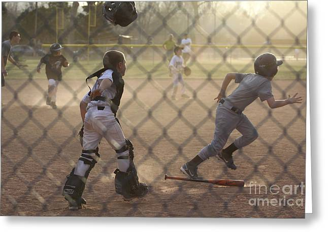 Youth League Greeting Cards - Catcher in Action Greeting Card by Chris Thomas