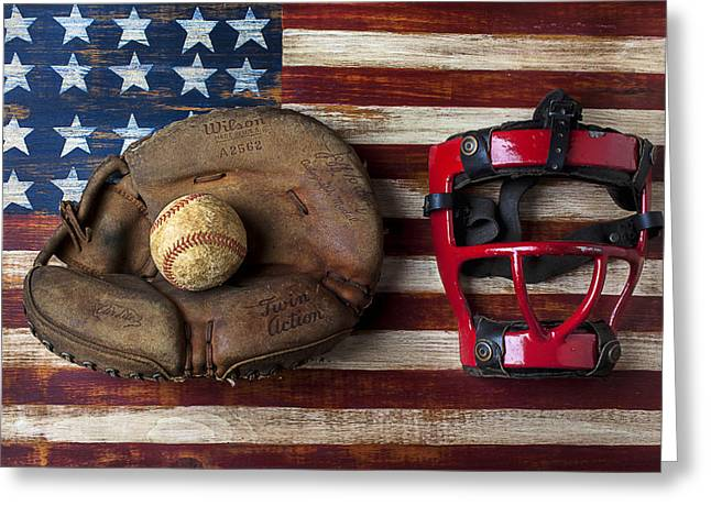 Rusty Nail Greeting Cards - Catchers glove on American flag Greeting Card by Garry Gay