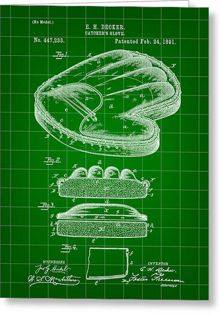 Fast Ball Digital Greeting Cards - Catchers Glove Patent 1891 - Green Greeting Card by Stephen Younts