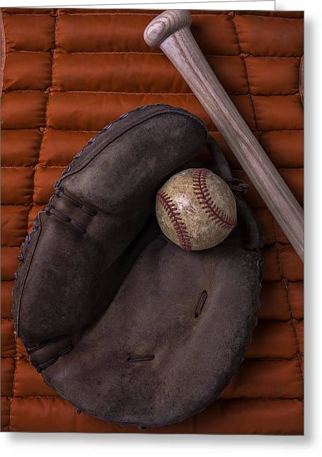 Mitt Greeting Cards - Catchers Mitt and Baseball Greeting Card by Garry Gay
