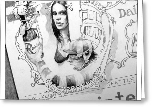 Mitt Drawings Greeting Cards - Catchers Mitt Greeting Card by Dan Strand