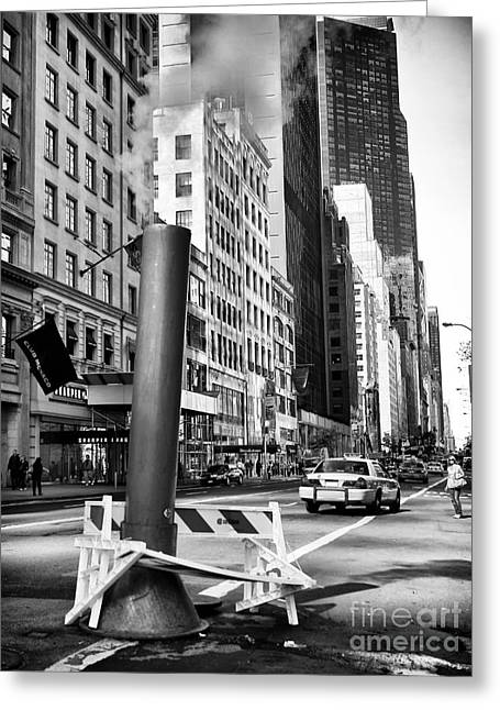 Interior Scene Photographs Greeting Cards - Catching a Cab Greeting Card by John Rizzuto