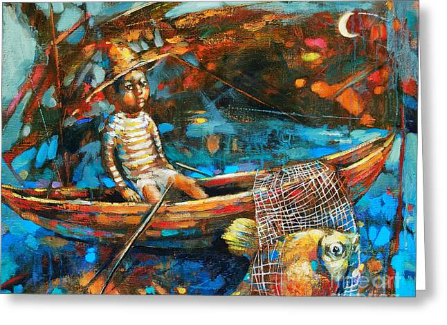Dream Scape Greeting Cards - Catching a Goldfish Greeting Card by Michal Kwarciak