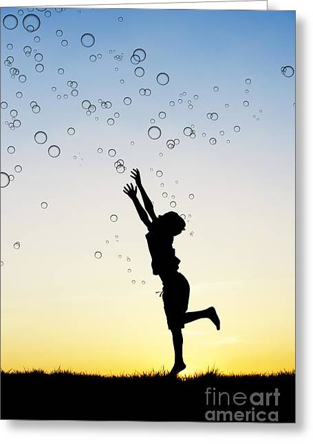 Excitement Greeting Cards - Catching bubbles Greeting Card by Tim Gainey