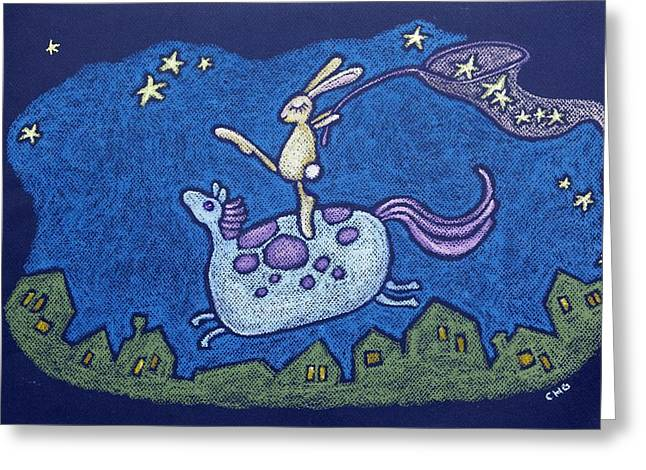 Hare Pastels Greeting Cards - Catching Dreams Greeting Card by wendy CHO