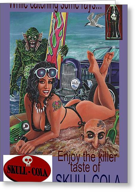 Creature From The Black Lagoon Greeting Cards - Catching rays Skull cola ad Greeting Card by Larry Nadolsky