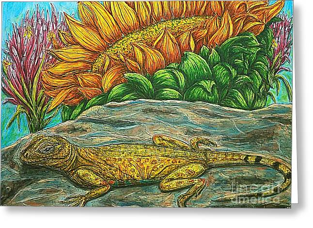 Sunbathing Mixed Media Greeting Cards - Catching Some Rays Greeting Card by Kim Jones