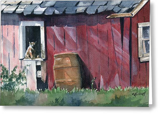 Shed Paintings Greeting Cards - Catching Some Rays Greeting Card by Marsha Elliott