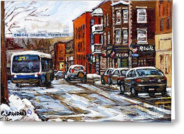 Verdun Restaurants Greeting Cards - Catching The 57 Bus On Centre Apres Lunch At La Chic Regal Pointe St. Charles Montreal Winter City  Greeting Card by Carole Spandau