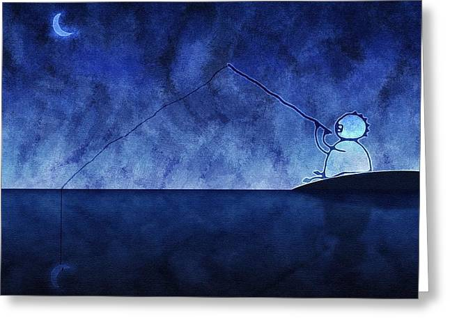 Fishing Rods Greeting Cards - Catching the Moon Under Water Greeting Card by Gianfranco Weiss