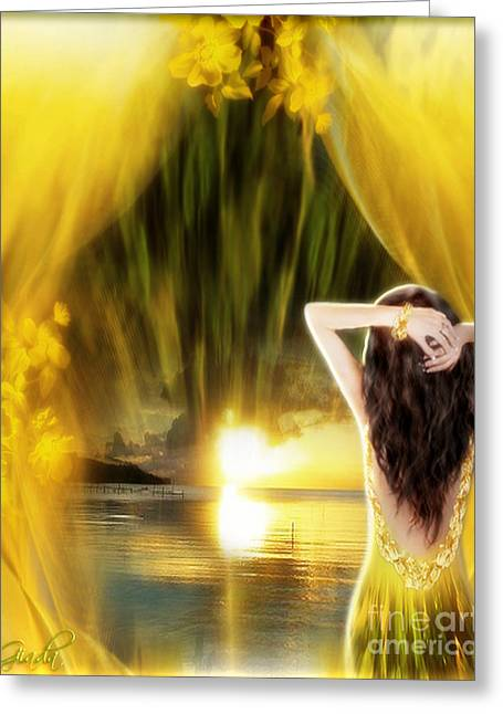Evening Dress Digital Art Greeting Cards - Catching the sunset - fantasy art by Giada Rossi Greeting Card by Giada Rossi