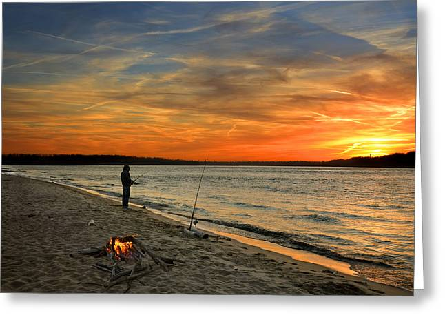 Reflections Of Sky In Water Greeting Cards - Catching the Sunset Greeting Card by Steven  Michael