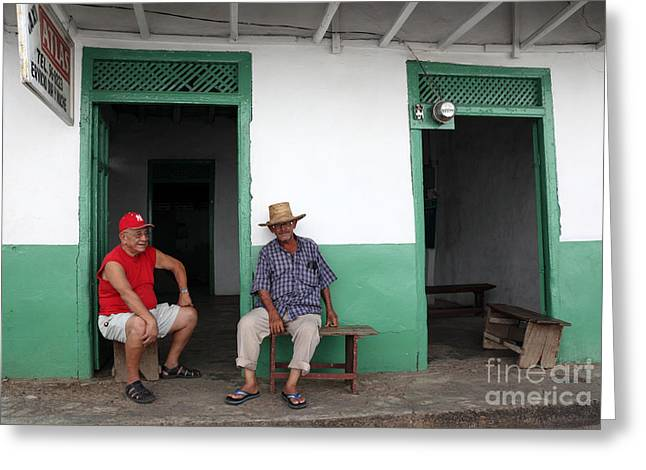 Pensioners Greeting Cards - Catching up in Panama Greeting Card by James Brunker