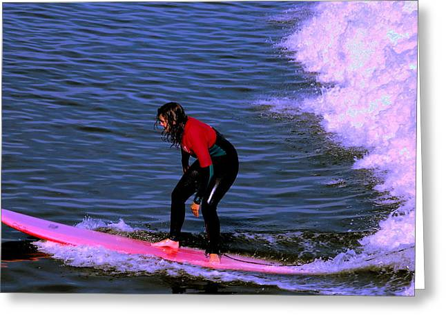 Surfing Photos Greeting Cards - Catching Waves Greeting Card by Tamyra Crossley