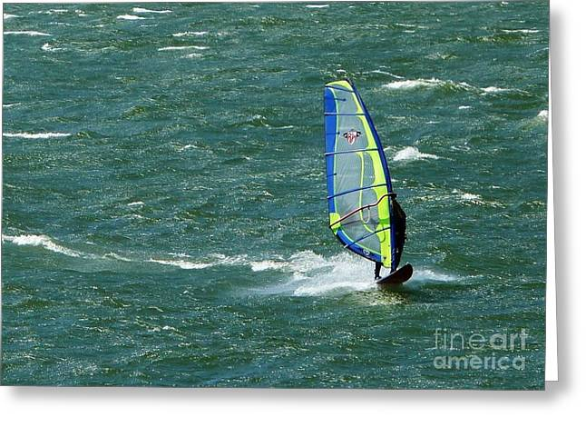Wind Surfing Print Greeting Cards - Catching Wind and Surf Greeting Card by Susan Garren