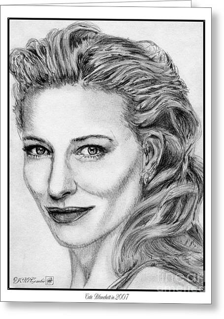 Fame Drawings Greeting Cards - Cate Blanchett in 2007 Greeting Card by J McCombie