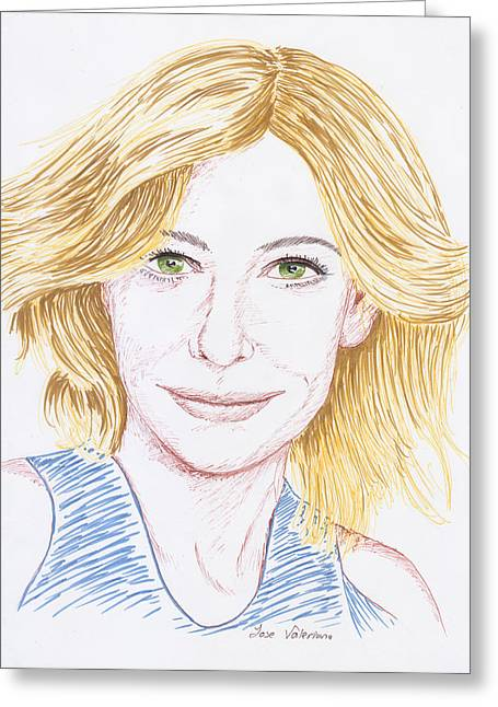 Cate Blanchett Greeting Cards - Cate Blanchett Greeting Card by Jose Valeriano