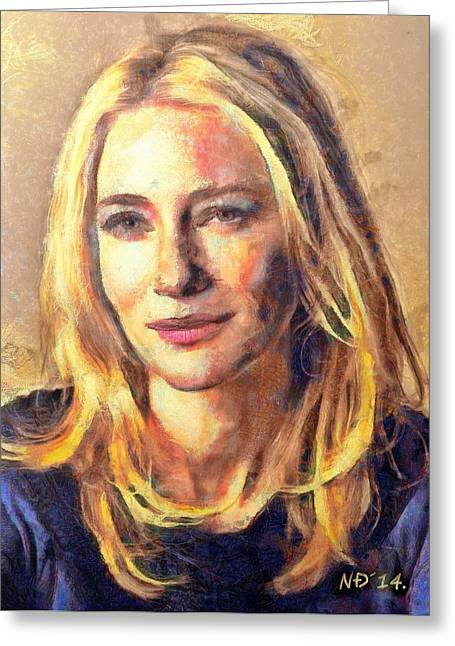 Lucent Dreaming Greeting Cards - Cate Blanchett Greeting Card by Nikola Durdevic