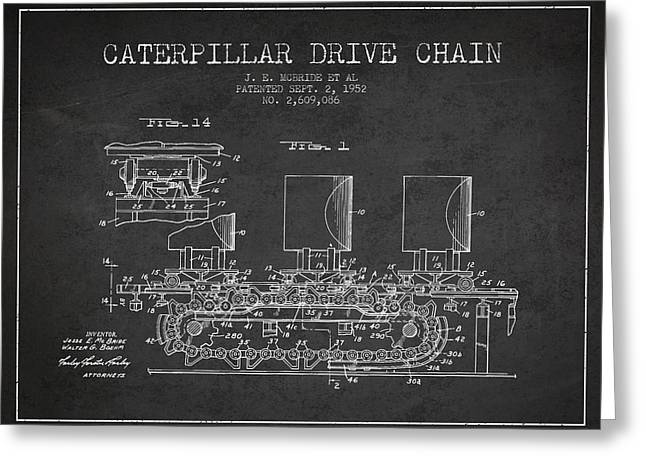 Technical Digital Art Greeting Cards - Caterpillar Drive Chain patent from 1952 Greeting Card by Aged Pixel