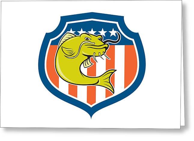 Catfish Digital Greeting Cards - Catfish Angryfish Shield Cartoon Greeting Card by Aloysius Patrimonio