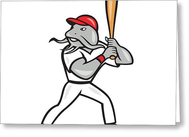 Catfish Digital Greeting Cards - Catfish Baseball Hitter Batting Full Isolated Cartoon  Greeting Card by Aloysius Patrimonio