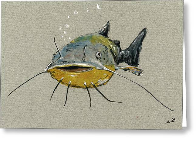 Catfish Greeting Card by Juan  Bosco
