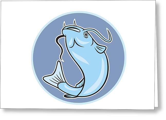 Catfish Digital Greeting Cards - Catfish Jumping Circle Cartoon Greeting Card by Aloysius Patrimonio