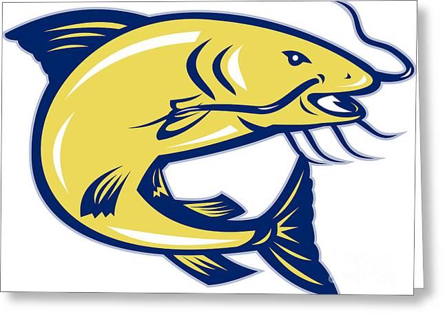 Catfish Digital Greeting Cards - Catfish Jumping Retro Greeting Card by Aloysius Patrimonio