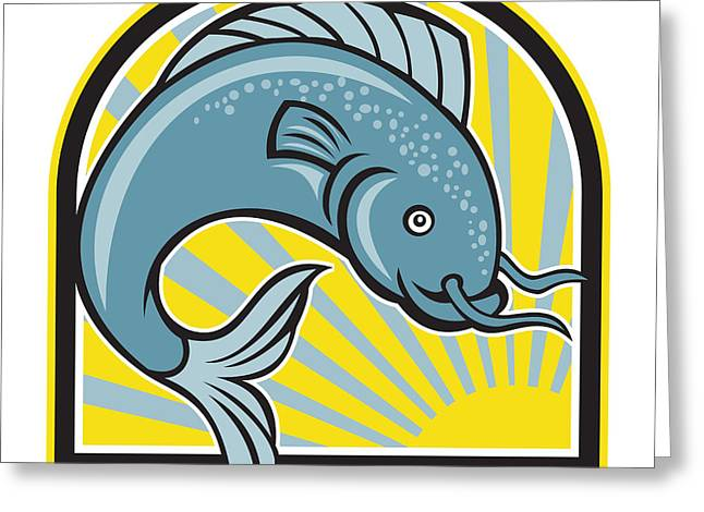 Catfish Digital Greeting Cards - Catfish Jumping Sunburst Cartoon Greeting Card by Aloysius Patrimonio