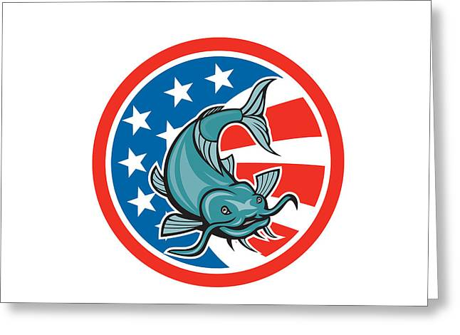 Catfish Digital Greeting Cards - Catfish Swimming American Flag Circle Cartoon Greeting Card by Aloysius Patrimonio