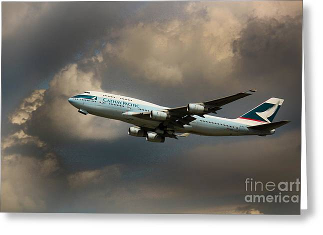 Rene Triay Photography Greeting Cards - Cathay Pacific B-747 Greeting Card by Rene Triay Photography