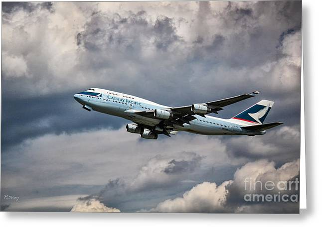 Retraction Greeting Cards - Cathay Pacific Boeing 747-400 Greeting Card by Rene Triay Photography
