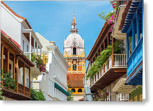 Colombia Greeting Cards - Cathedral and Balconies Greeting Card by Jess Kraft