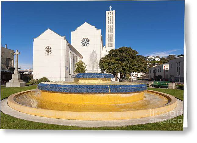 Anglican Greeting Cards - Cathedral and Tait Fountain Napier New Zealand Greeting Card by Colin and Linda McKie