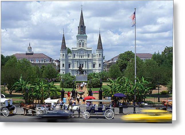 St. Louis Cathedral Greeting Cards - Cathedral At The Roadside, St. Louis Greeting Card by Panoramic Images