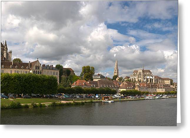 Burgundy Greeting Cards - Cathedral At The Waterfront, Cathedrale Greeting Card by Panoramic Images