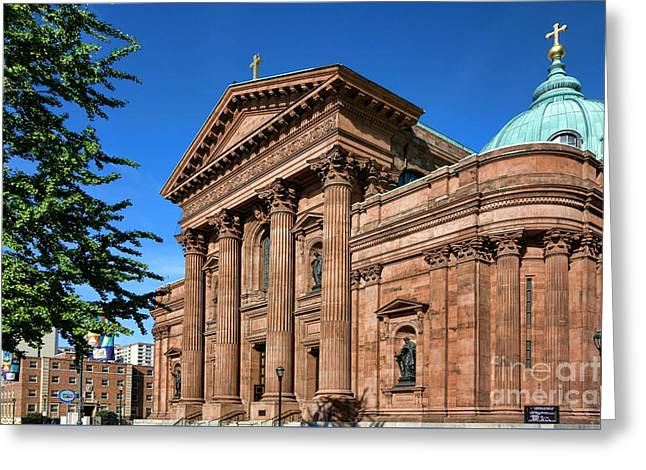 Phila Photographs Greeting Cards - Cathedral Basilica of Saints Peter and Paul Greeting Card by Olivier Le Queinec