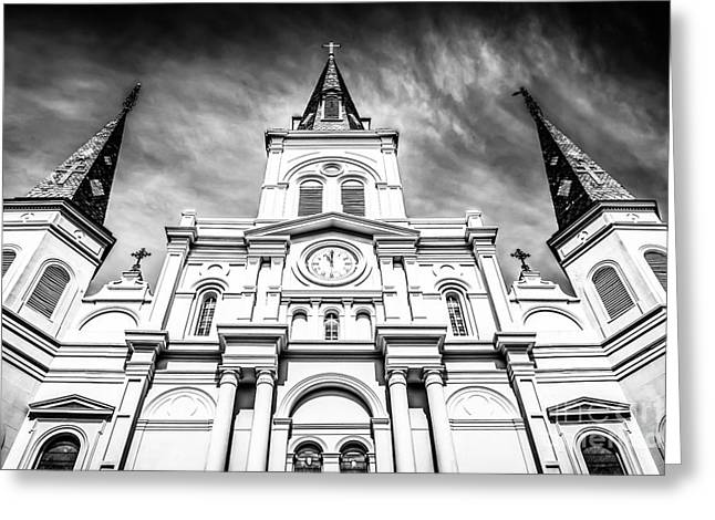 St. Louis Cathedral Greeting Cards - Cathedral-Basilica of St. Louis in New Orleans Greeting Card by Paul Velgos