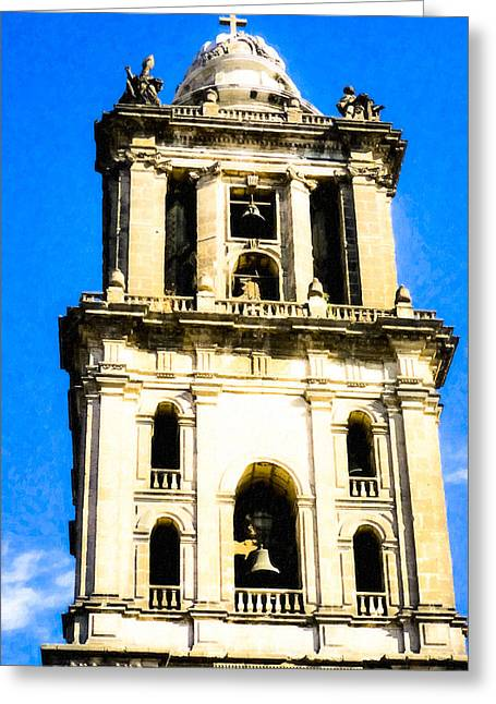 Mexico City Photographs Greeting Cards - Cathedral Bell Tower - Mexico City Architecture Greeting Card by Mark Tisdale