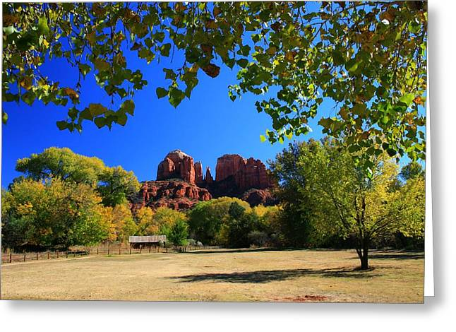Red Rock Crossing Greeting Cards - Cathedral Cabin Greeting Card by Miles Stites