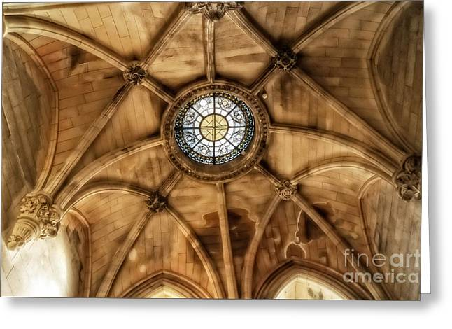 Stained Glass Ireland Greeting Cards - Cathedral Ceiling of St Colman Greeting Card by Imagery by Charly
